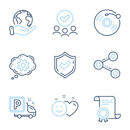 Smile, Confirmed and Vinyl record line icons set. Diploma certificate, save planet, group of people. Cogwheel, Truck parking and Share signs. Social media like, Accepted message, Retro music. Vector Ilustrace