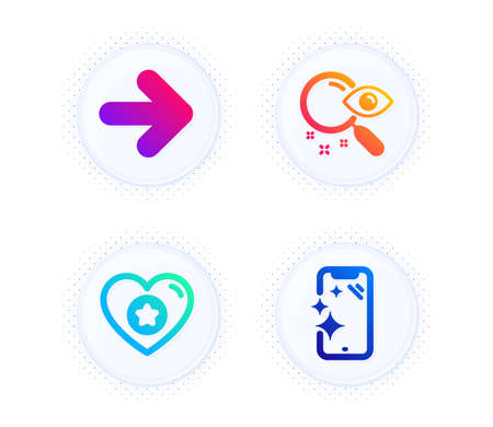 Search, Heart and Next icons simple set. Button with halftone dots. Smartphone clean sign. Find document, Star rating, Forward. Phone screen. Technology set. Gradient flat search icon. Vector
