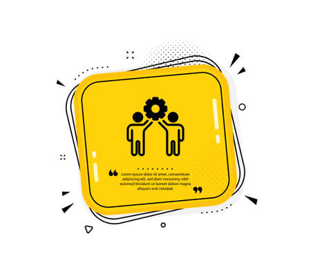 Employees teamwork icon. Quote speech bubble. Collaboration sign. Development partners symbol. Quotation marks. Classic employees teamwork icon. Vector