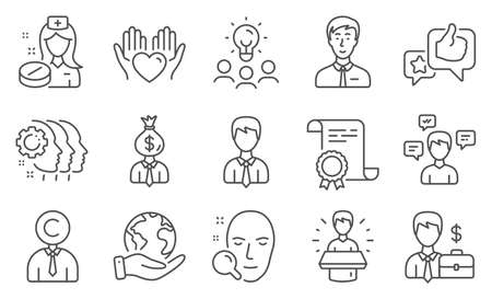 Set of People icons, such as Hold heart, Businessman. Diploma, ideas, save planet. Conversation messages, Employees teamwork, Face search. Nurse, Businessman case, Manager. Vector 向量圖像