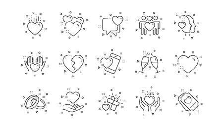 Gift box, Heart and Romantic letter. Love line icons. Wedding rings, glasses with champagne, love heart icons. Linear set. Geometric elements. Quality signs set. Vector
