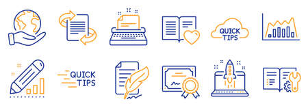 Set of Education icons, such as Quick tips, Education. Certificate, save planet. Edit statistics, Love book, Engineering documentation. Infographic graph, Marketing, Typewriter. Vector Illustration