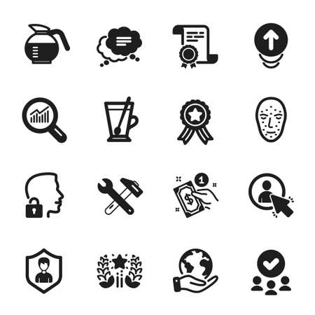 Set of Business icons, such as Text message, Data analysis. Certificate, approved group, save planet. User, Spanner tool, Payment method. Swipe up, Coffeepot, Face biometrics. Vector