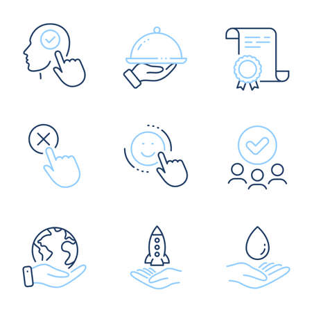 Reject click, Crowdfunding and Smile line icons set. Diploma certificate, save planet, group of people. Select user, Restaurant food and Water care signs. Vector