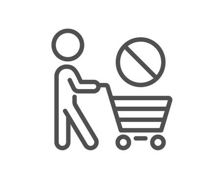 Stop shopping line icon. No panic buying sign. Man with shopping cart symbol. Quality design element. Editable stroke. Linear style stop buying icon. Vector Vektorové ilustrace