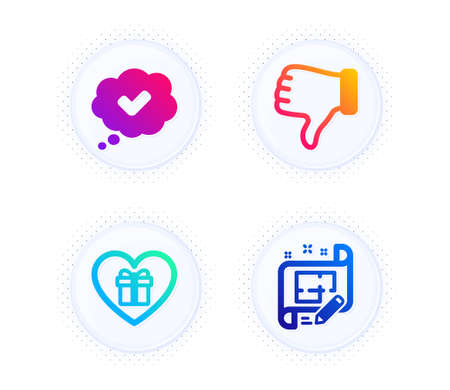 Approved, Romantic gift and Dislike hand icons simple set. Button with halftone dots. Architect plan sign. Comic message, Surprise with love, Thumbs down. Engineering plan. Business set. Vector