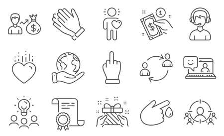 Set of People icons, such as Consultant, Gift. Diploma, ideas, save planet. Clapping hands, User communication, Middle finger. Smile, Payment method, Blood donation. Friend, Sallary, Heart. Vector Vetores