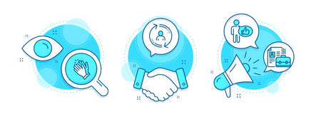 Like, Clapping hands and User info line icons set. Handshake deal, research and promotion complex icons. Vacancy sign. Thumbs up, Clap, Update profile. Hiring job. People set. Vector
