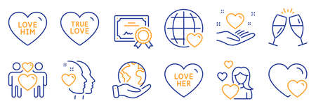 Set of Love icons, such as Love her, Love him. Certificate, save planet. Hold heart, Champagne glasses, Heart. Hearts line icons. Sweetheart, Friendship. Line icon set. Vector