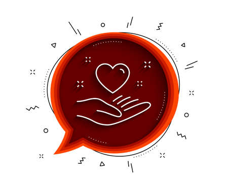 Hold heart line icon. Chat bubble with shadow. Friends love sign. Friendship hand symbol. Thin line hold heart icon. Vector