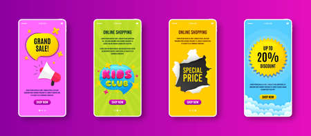 Kids club icon. Phone screen banner. Fun playing zone banner. Children games party area icon. Sale banner on smartphone screen. Mobile phone web template. Kids club promotion. Vector Иллюстрация