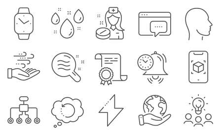 Set of Science icons, such as Wind energy, Energy. Diploma, ideas, save planet. Smartwatch, Augmented reality, Skin condition. Seo message, Rainy weather, Head. Vector Çizim