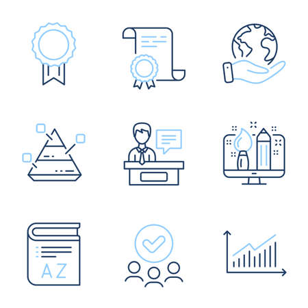 Vocabulary, Creative design and Reward line icons set. Diploma certificate, save planet, group of people. Pyramid chart, Exhibitors and Graph signs. Book, Designer, Best medal. Report analysis. Vector