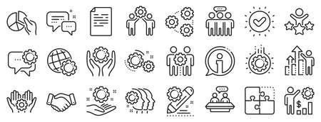Business strategy, handshake and people collaboration. Employees benefits line icons. Teamwork, social responsibility, people relationship icons. Growth chart, employees benefits. Vector 向量圖像