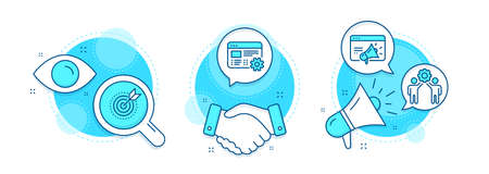 Seo marketing, Target purpose and Employees teamwork line icons set. Handshake deal, research and promotion complex icons. Web settings sign. Megaphone, Business focus, Collaboration. Vector