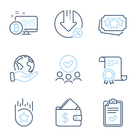 Wallet, Loan percent and Loyalty points line icons set. Diploma certificate, save planet, group of people. Bitcoin system, Loyalty star and Checklist signs. Vector Ilustrace