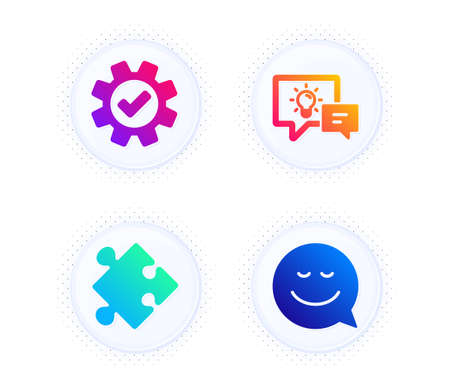 Idea lamp, Service and Strategy icons simple set. Button with halftone dots. Smile sign. Business energy, Cogwheel gear, Puzzle. Chat emotion. Technology set. Gradient flat idea lamp icon. Vector Ilustração