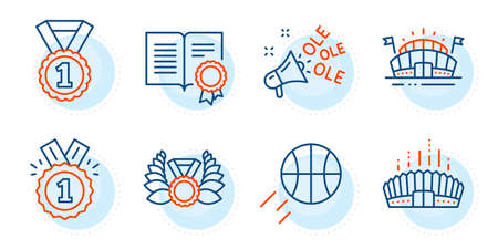 Ole chant, Arena stadium and Laureate medal signs. Basketball, Sports arena and Approved line icons set. Best rank, Diploma symbols. Sport ball, Event stadium. Sports set. Outline icons set. Vector