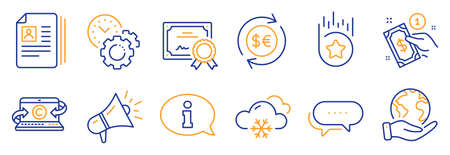 Set of Business icons, such as Payment method, Information. Certificate, save planet. Snow weather, Megaphone, Copywriting notebook. Dots message, Money currency, Loyalty star. Vector
