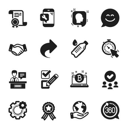 Set of Business icons, such as Timer, Head. Certificate, approved group, save planet. 360 degrees, Water bottle, Phone repair. Exhibitors, Smile chat, Bitcoin. Vector