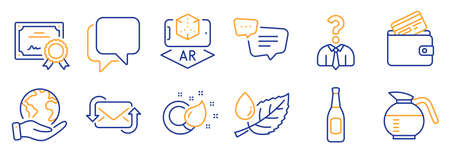 Set of Business icons, such as Coffeepot, Hiring employees. Certificate, save planet. Refresh mail, Beer, Paint brush. Talk bubble, Leaf dew, Augmented reality. Vector