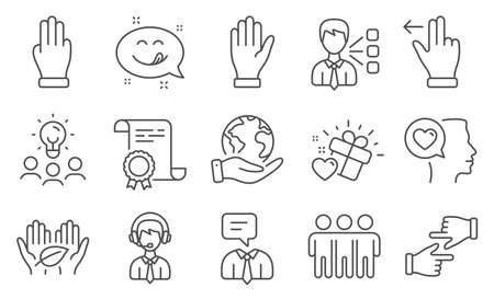 Set of People icons, such as Yummy smile, Shipping support. Diploma, ideas, save planet. Touchscreen gesture, Hand, Three fingers. Love gift, Third party, Romantic talk. Vector