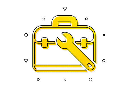 Repair tool case sign. Spanner tool icon. Fix instruments symbol. Yellow circles pattern. Classic tool case icon. Geometric elements. Vector