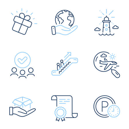 Gift, Escalator and Parking time line icons set. Diploma certificate, save planet, group of people. Hold box, Search flight and Lighthouse signs. Marketing box, Elevator, Park clock. Vector
