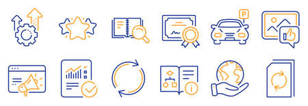 Set of Technology icons, such as Checked calculation, Like photo. Certificate, save planet. Technical algorithm, Star, Seo gear. Search book, Update document, Parking. Vector