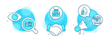 Travel loan, Water drop and Loyalty card line icons set. Handshake deal, research and promotion complex icons. Engineering documentation sign. Trip discount, Mint leaf, Bonus points. Manual. Vector