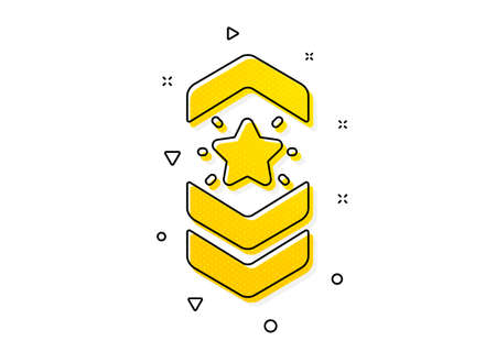 Star award sign. Shoulder strap stars icon. Best rank symbol. Yellow circles pattern. Classic shoulder strap icon. Geometric elements. Vector