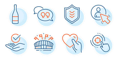 Shield, User and Hold heart signs. Champagne bottle, Quote bubble and Sports arena line icons set. Approved, Seo target symbols. Anniversary alcohol, Chat comment. Business set. Vector 向量圖像