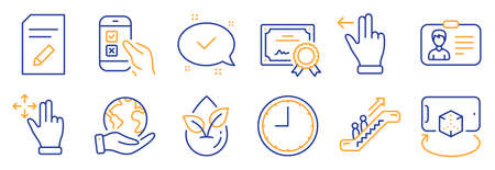 Set of Technology icons, such as Approved, Time. Certificate, save planet. Touchscreen gesture, Augmented reality, Escalator. Move gesture, Identification card, Organic product. Vector 向量圖像