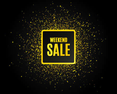 Weekend Sale. Golden glitter pattern. Special offer price sign. Advertising Discounts symbol. Black banner with golden sparkles. Weekend sale promotion text. Gold glittering effect. Vector 向量圖像