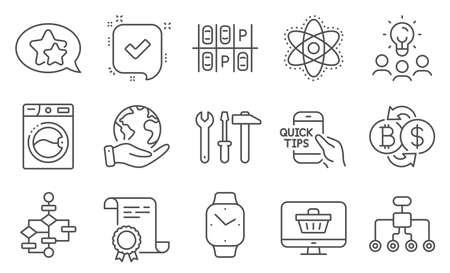 Set of Technology icons, such as Education, Parking place. Diploma, ideas, save planet. Chemistry atom, Block diagram, Confirmed. Web shop, Smartwatch, Restructuring. Vector Ilustrace