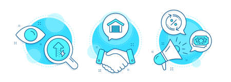 Loyalty points, Parking garage and Energy growing line icons set. Handshake deal, research and promotion complex icons. Loan percent sign. Bonus coupon, Car place, Power usage. Change rate. Vector Illustration