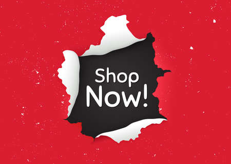 Shop now symbol. Ragged hole, torn paper banner. Special offer sign. Retail Advertising. Paper with ripped edges. Torn hole red background. Shop now promotion banner. Peeling grunge paint. Vector