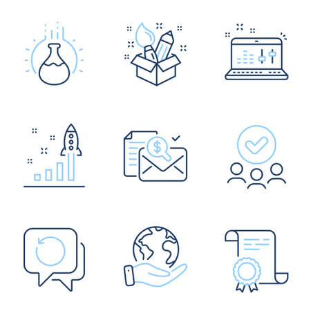 Sound check, Creativity and Chemistry experiment line icons set. Diploma certificate, save planet, group of people. Accounting report, Development plan and Recovery data signs. Vector