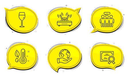 Wifi sign. Diploma certificate, save planet chat bubbles. Thermometer, Employees group and Wine glass line icons set. Grow plant, Collaboration, Bordeaux glass. Internet router. Business set. Vector 向量圖像