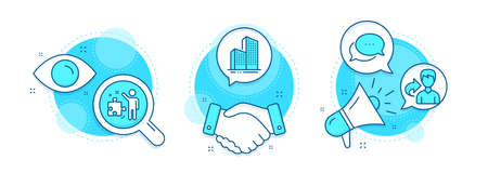 Share, Dots message and Skyscraper buildings line icons set. Handshake deal, research and promotion complex icons. Strategy sign. Male user, Chat bubble, Town architecture. Business plan. Vector