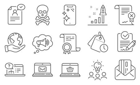 Set of Technology icons, such as Rfp, Smartphone clean. Diploma, ideas, save planet. Online shopping, Reject certificate, Megaphone. E-mail, Credit card, Development plan. Vector