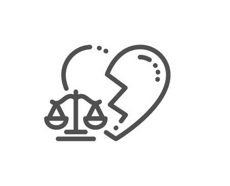 Divorce lawyer line icon. Justice scales sign. Marriage law symbol. Quality design element. Editable stroke. Linear style divorce lawyer icon. Vector Illustration