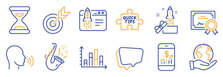 Set of Education icons, such as Time, Diagram graph. Certificate, save planet. Speech bubble, Target, Jazz. Innovation, Start business, Mobile finance. Human sing, Quick tips line icons. Vector