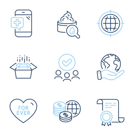 Moisturizing cream, Seo internet and Packing boxes line icons set. Diploma certificate, save planet, group of people. World money, Medical phone and For ever signs. Vector