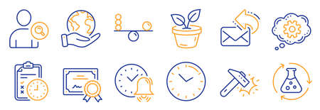 Set of Business icons, such as Balance, Share mail. Certificate, save planet. Alarm bell, Find user, Hammer blow. Exam time, Chemistry experiment, Cogwheel. Leaves, Time line icons. Vector Ilustración de vector
