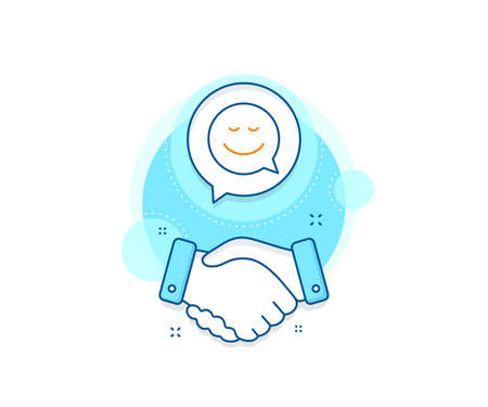 Chat emotion sign. Handshake deal complex icon. Comic speech bubble with Smile line icon. Agreement shaking hands banner. Smile sign. Vector