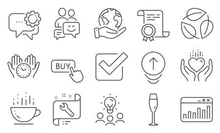 Set of Business icons, such as Coffee cup, Checkbox. Diploma, ideas, save planet. Marketing statistics, Buy button, Employees messenger. Spanner, Safe time, Leaves. Vector Illustration