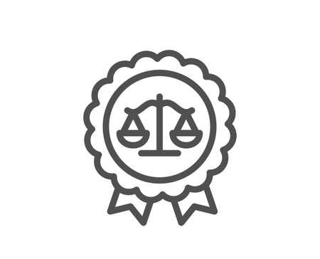Justice scales line icon. Judgement award sign. Legal law symbol. Quality design element. Editable stroke. Linear style justice scales icon. Vector Vektoros illusztráció