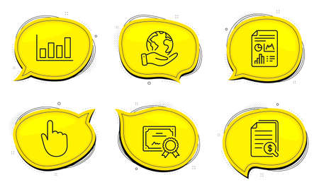 Report document sign. Diploma certificate, save planet chat bubbles. Financial documents, Hand click and Report diagram line icons set. Check docs, Location pointer, Financial market. Vector