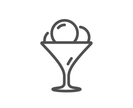 Ice cream in glass line icon. Vanilla sundae sign. Frozen summer dessert symbol. Quality design element. Editable stroke. Linear style ice cream icon. Vector